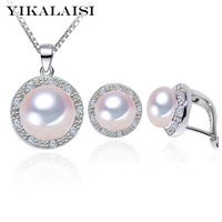 YIKALAISI 2017 100% Natural Freshwater Pearl Pendant Earrings 925 sterling silver Jewellery Sets Zircon Jewelry For Women