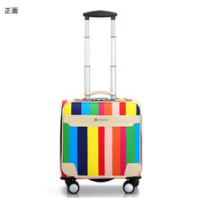 2016 Cheap Men Women Small Travel Luggage 16 Inch Valise PU Leather Trolley Suitcases Vintage Style Rolling Luggage with Wheels