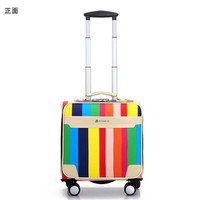 2016 Cheap Men Women Small Travel Luggage 16 Inch Valise PU Leather Trolley Suitcases Vintage Style