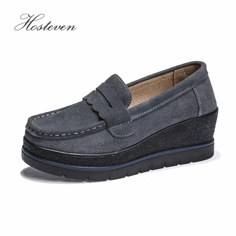 Hosteven Women Shoes Loafers Genuine Leather Flats Shoes Spring Autumn Female Casual Flat Woman Leather Black Footware 2016 spring and autumn women s shoes female flat heel maternity shoes genuine leather shoes flats for women