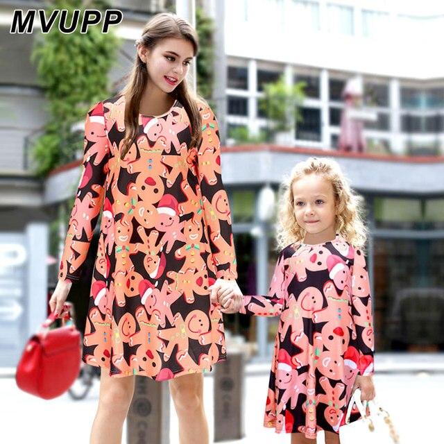 fd19e79e8097e MVUPP maman fille robe de noël famille correspondant vêtements tenues de  bande dessinée Pain D