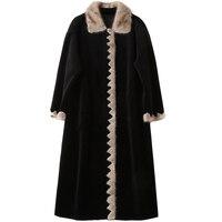Зимние Для женщин пальто натуральный мех Для женщин топы стрижки овец шуба норковая Collor 2018 длинные черные шерстяная куртка Для женщин топы