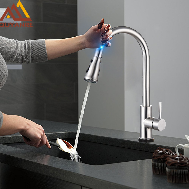 Quyanre High Arc Brushed Nickel Pull Out Touch Sensor Kitchen Faucet Lead free Pull Out Smart