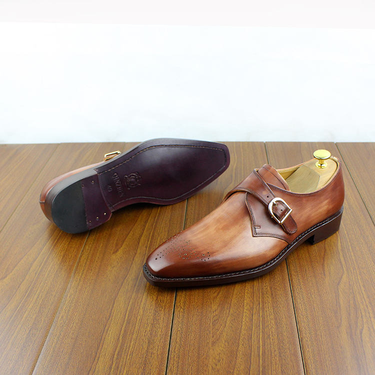 Micholediys Handmade Goodyear Custom-made Munch Bullock England Monks - Zapatos de hombre - foto 2