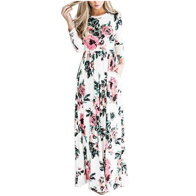 68e6b0ca600 Trendy Women Autumn Summer Dress 2017 New Fashion Print Maxi Dress Women  Vintage Casual Elegant Floral Long Dresses Vestidos