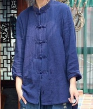 New product launch in the autumn of 2015, the original design loose big yards 100% cotton linen casual women's shirt