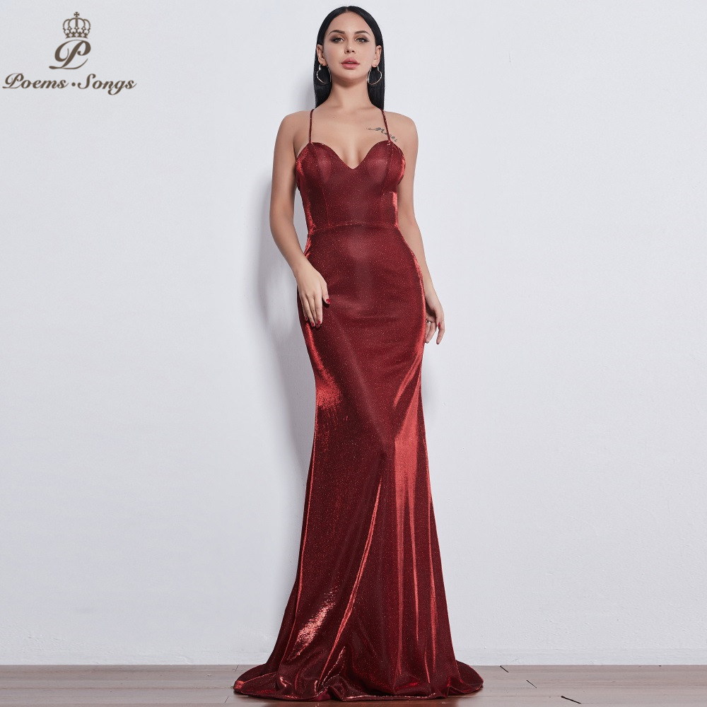 Poems Songs 2019 New style Sexy Elegante reflective   dress   Luxury   Evening     Dress   prom gowns vestido de festa Formal Party   dress