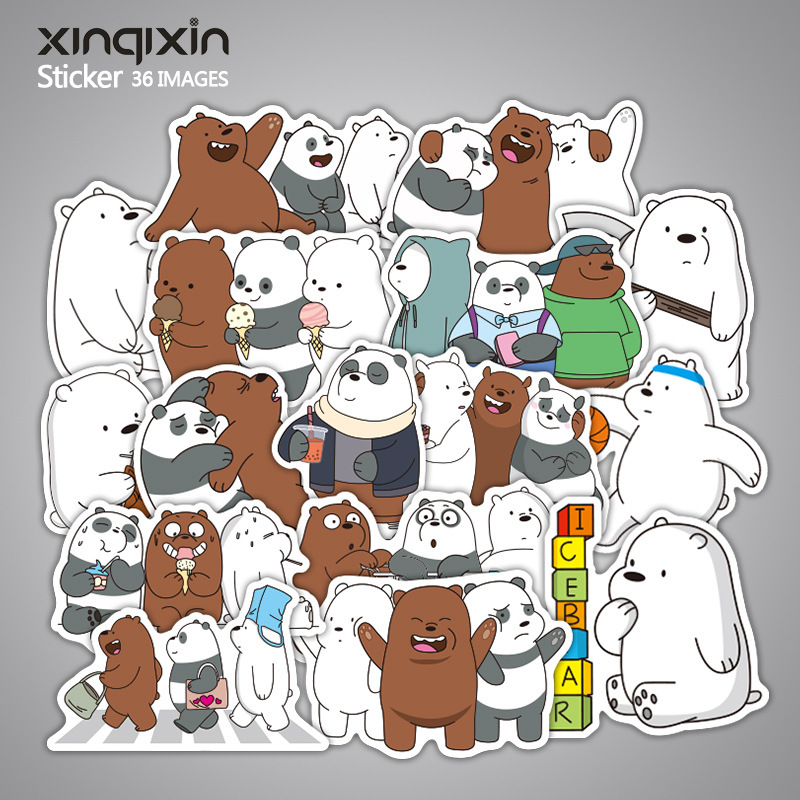 36pcs/set We Bare Bears Stickers Grizzly Ice Bear Panda Stickers PVC Disposable Tattoo DIY Sticker Phone Tablet Decal Waterproof