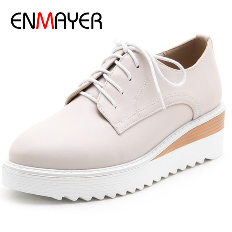 ENMAYER Woman Platform Casual Round-Toe Inceeasing Wedge Shoes Ladies Solid Shallow Pumps Lace-Up New Fashion Plus Size 34-43 enmayer solid shallow lace up shoes woman high heels round toe casual shoes adults in women plus size 34 43 spring