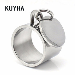 Fashion jewelry unisex rings with charm stainless steel metal punk silver pendant ring for women dangle charm ring 1.5 cm width