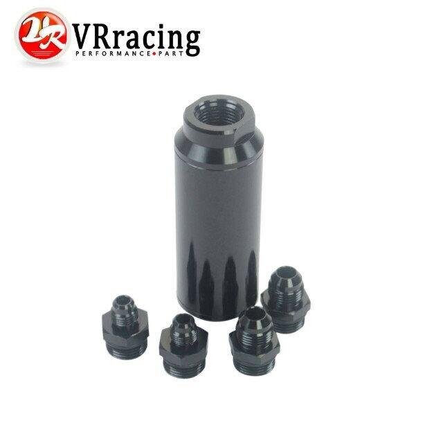 VR RACING Universal auto Fuel filter Balck with 2pcs AN6 adaptor fittings 2pcs AN8 adaptor fittings
