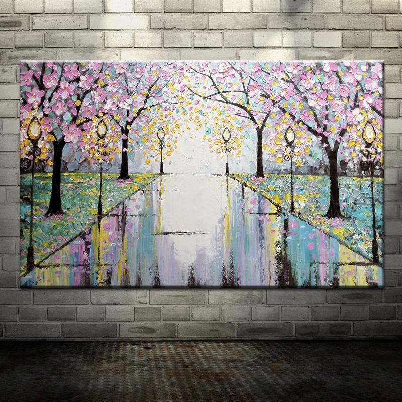 Ручная Покраска розовые цветы дорога уличный фонарь Аннотация палитра Ножи живопись маслом на холсте настенные украшения для дома