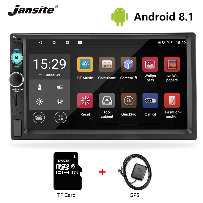 Jansite 7 2 din Car Radio Android8 1 player DVD with digital 1080P GPS Wifi Touch