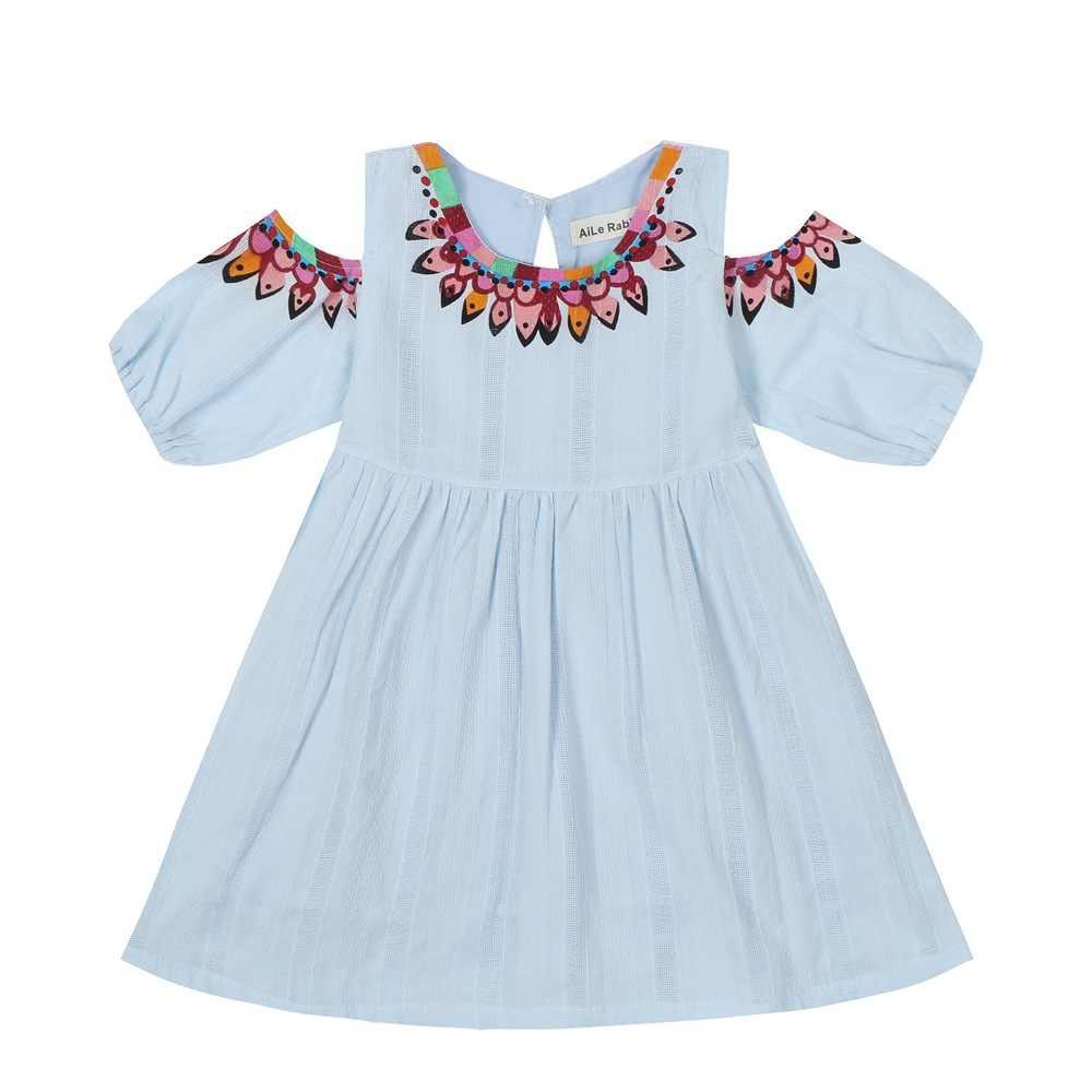 Pamuk kız elbise 2019 yaz yeni kız elbise Casual Sundress kısa kollu straplez elbise prenses elbise