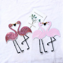 1pc Flamingo Sequin Patch Applique Embroidery For Clothes Sweater T-shirt Sew-On Iron-On Sticker DIY Clothes Decoration(China)