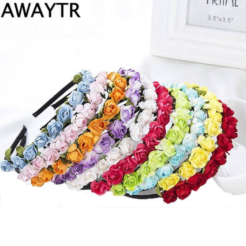 Awaytr cabeça de flor para crianças, conjunto de 1 peça de guirlandas artesanal, feito à mão, rosa, flor, coroa, endereço floral, arco de cabelo para meninas