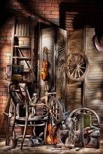 Cowboy ovest Sfondo Vecchio Fienile Ruote Depoca Scaletta In Legno Chitarra Cappello Asse di Legno di Grano Dorato Interni Fotografia di Sfondo