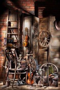 Image 1 - West Cowboy Backdrop Old Barn Vintage Wheel Wood Ladder Guitar Hat Wood Plank Golden Wheat Interior Photography Background