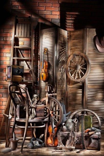 West Cowboy Backdrop Old Barn Vintage Wheel Wood Ladder Guitar Hat Wood Plank Golden Wheat Interior Photography Background