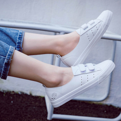 2018 Summer New Fashion Shoes Woman Casual  PU Leather Shallow Simple Women Casual Floral White Shoes Sneakers Breathable
