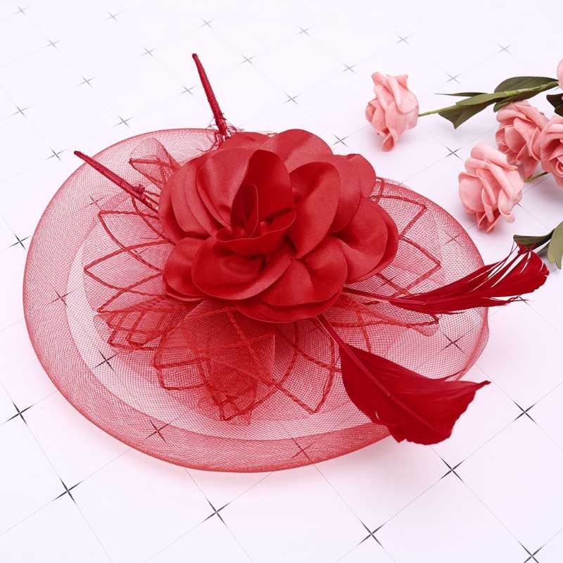 Bridal Fascinator Headwear WomensWedding Veil Mesh Feather Hairpin Party Decor gai