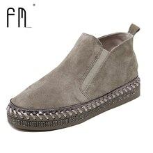 De Calidad superior Cuero Genuino botas Planas Martin Tobillo Botas de Otoño Zapatos de Las Mujeres Rhinestone Recorte Mujer Invierno Vaca Bota de Cuero del zapato