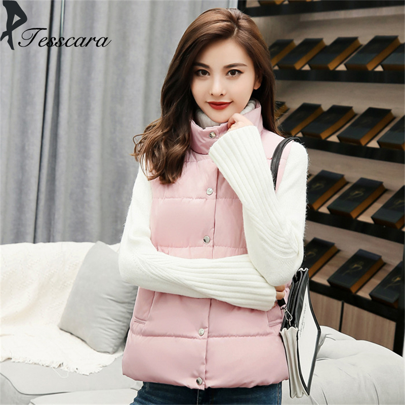 Women Solid Sleeveless Winter Jacke Thick Warm Waistcoat Vest Coat Jacket 2018