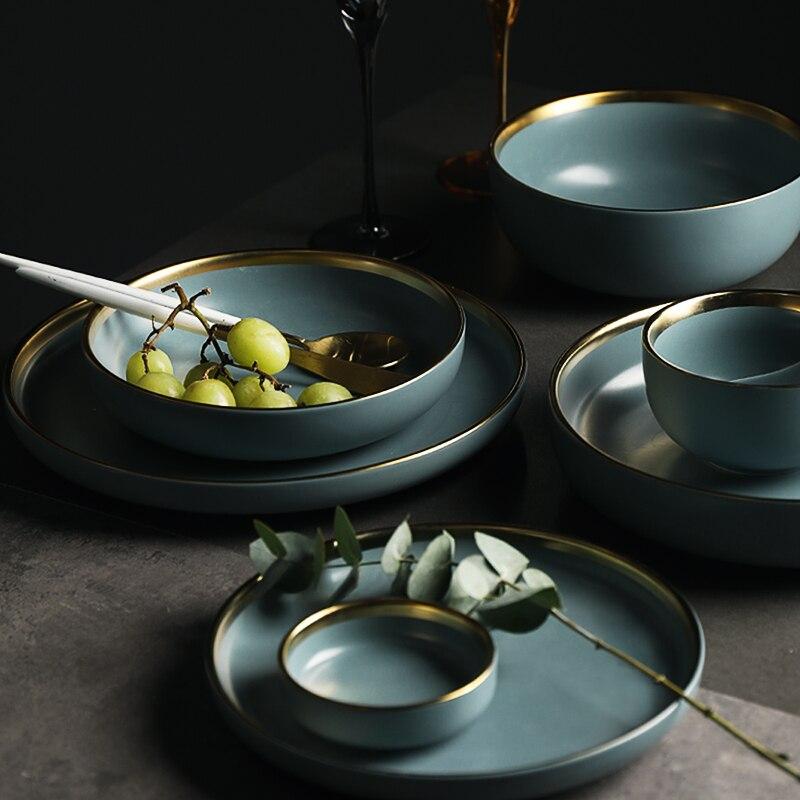 Blue Golden Ceramic Plates 4