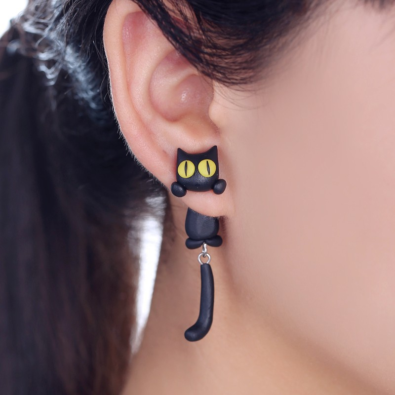 2019 Nuovo Design Fashion 100% Handmade Polymer Clay Yellow Eyes Cat 3d Animal Orecchini per le donne Ear Stud gioielli Brincos