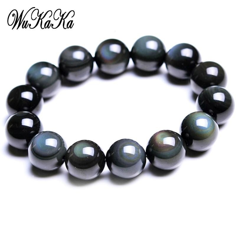 Wukaka Fashion Black Obsidian Men Bracelet For Men Beads Bracelets 2018 Men Jewelry Gift Father's Day