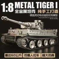 Подлинная Henglong 1/8 большой масштаб всех металлических Немецкий Тигр I Электрический Танк дистанционного управления модель 2,4G RC Танк