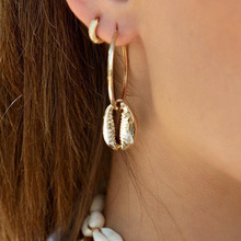 New Vintage Shell Drop Earring Gold Color Fashion Jewelry For Women Dangle Geometric Gifts