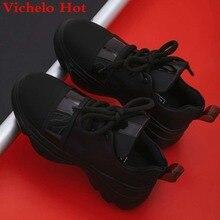 Vichelo/Лидер продаж; лаконичный стиль; обувь на толстой высокой платформе со шнуровкой; кроссовки с круглым носком; европейский дизайн; Вулканизированная обувь размера плюс; L32