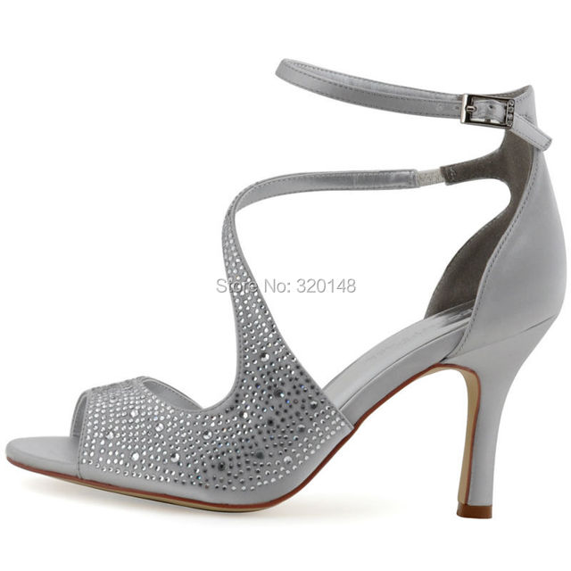 ... Sandals Woman Sexy Silver Ankle Strap High Heel Bling Rhinestone Satin  Bride Bridesmaid Pumps Bridal Wedding Shoes HP1505. Previous. Next cc2bb72e4874