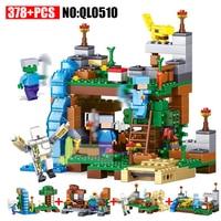 AIBOULLY QL0510 378pcs 4 In 1 Minecrafted City Figures Building Blocks Mine World DIY Garden Bricks