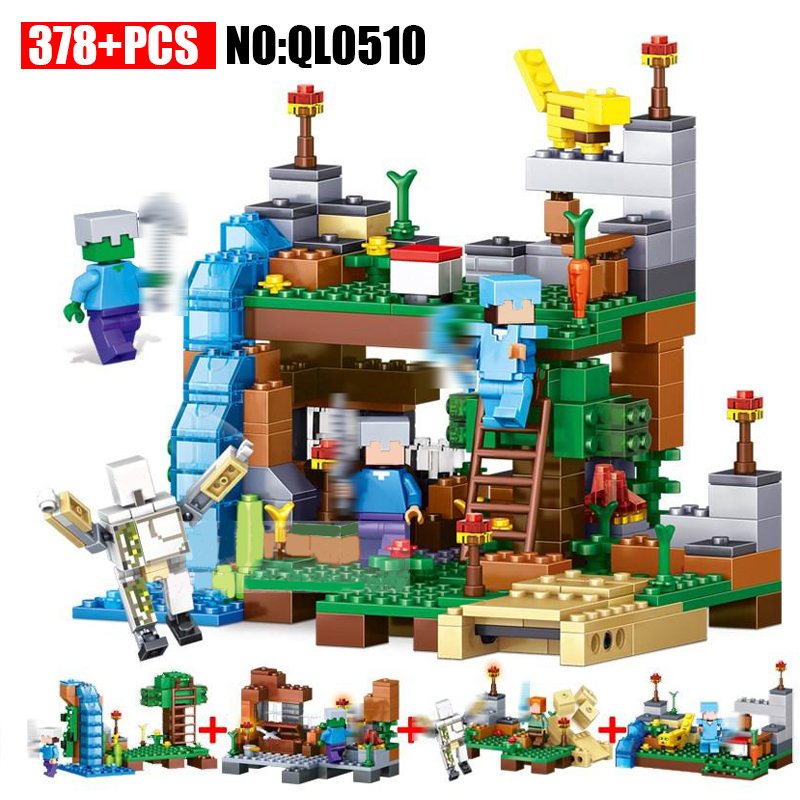 AIBOULLY QL0510 378pcs 4 in 1 Minecrafted City Figures Building Blocks Mine World DIY Garden Bricks Blocks Educational Kids Toy new arrival 378pcs 4 in 1 minecrafted building blocks compatible legoed city figures diy building blocks kit toys kids best gift