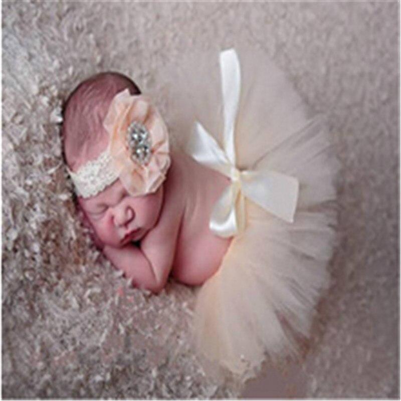 Baby Girls Newborn Infant Headband+Half Tutu Skirt Clothing Set Photo Props