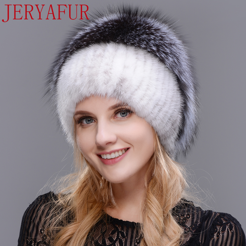JERYAFUR 2017 Russian knit cap new listing mink and fox hat real fur hat cap hat winter woman ski cap protection ear free send new style winter hat real female mink fur hat for women knitted mink fox fur cap female ear warm hat cap silver fox part less