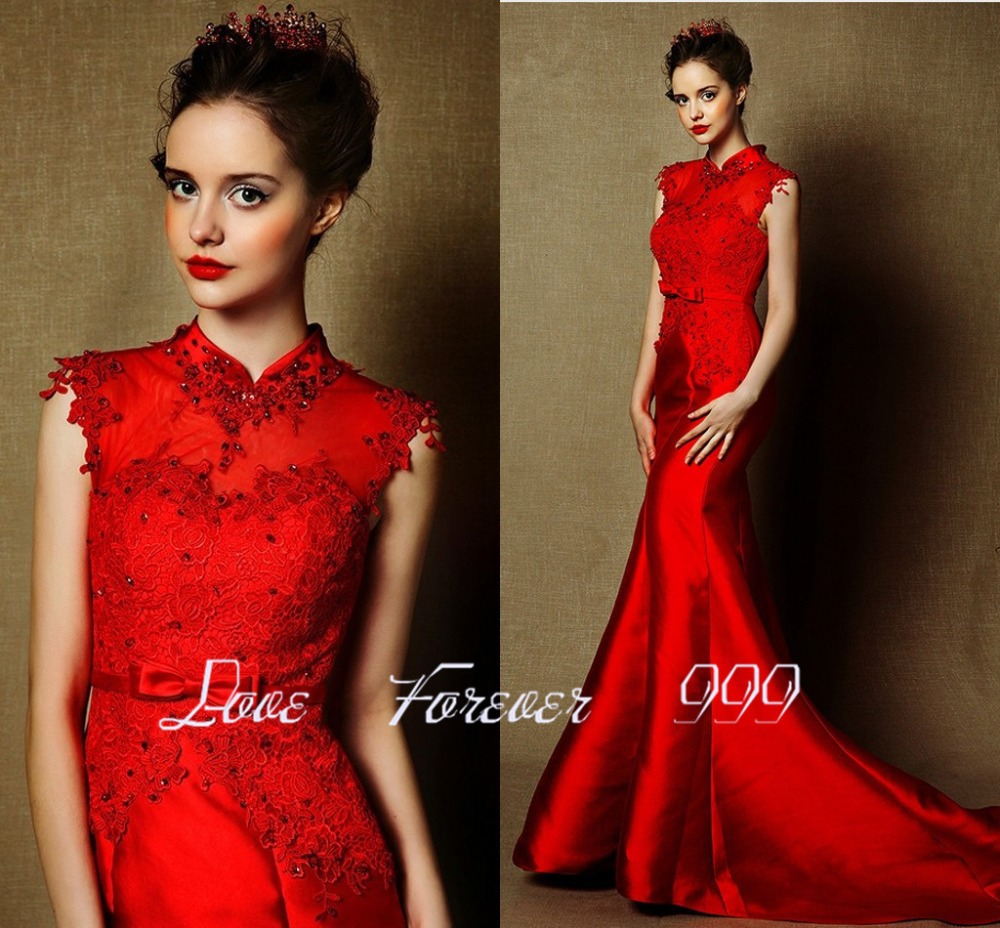 Chinese Style High Neck Red Evening Dress Long Mermaid Formal Dress ...