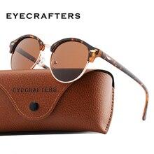 Luxury Tortoise Brown Polarized Round Sunglasses Mens Womens