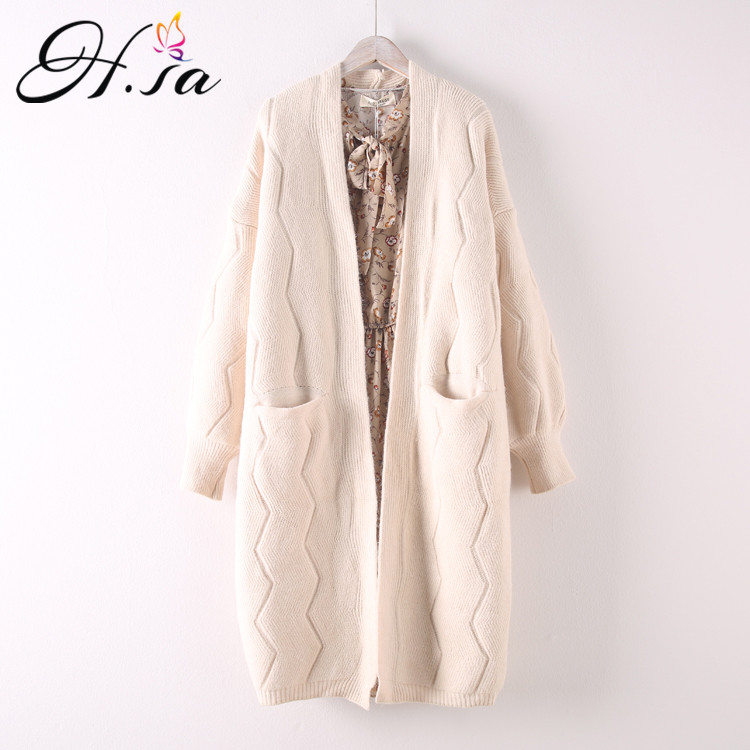 HSA Women Long Cardigans For Autumn Winter Warm Oversized Cardigans Poncho Korean Knit Jacket Sueter Mujer Invierno 2018 COat