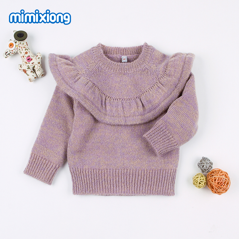 2018 Autumn Girl Sweater Tops Winter Warm Newborn Bebe Pullovers Jumpers Purple Casual Long Sleeve Toddler Children Knit Clothes winter girls clothes sweater for baby girl 5 6 7 8 9 years children knit long sleeve pullovers cotton plaid autumn tops teeanger