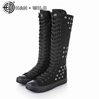 Women Casual Canvas Shoes Punk Style Knee High Shoes Spring Autumn Breathable Flat Sneakers for Women Side Zipper Lace up Flats