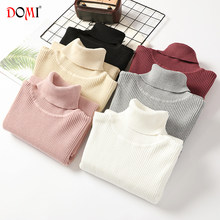 High Collar Female Jumper DOMI Autumn Winter New Women Turtleneck Long-Sleeved Slim Fit Thick Solid Color Knitted Sweaters(China)