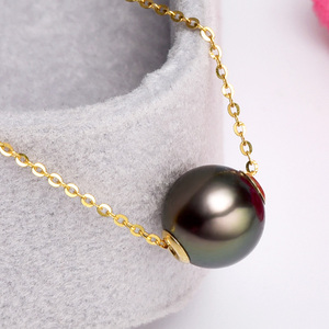 Image 3 - YS 18K Solid Gold Chain Genuine Saltwater Cultured Tahitian Pearl Pendant Necklace