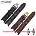 Черный 20*11 мм и 22*13 мм Высокое качество Подлинная leatherwatchband теплые планки Вахты для GC с нержавеющая steelbutterfly пряжкой
