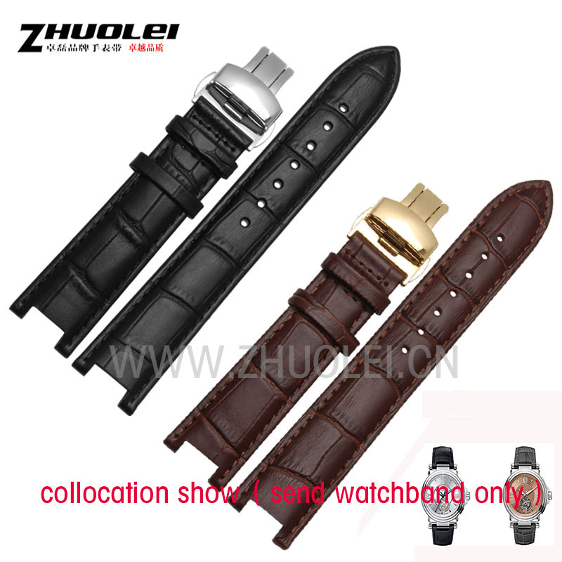 Black 20 11mm and 22 13mm High quality Genuine leatherwatchband cowhide Watch strap for GC with