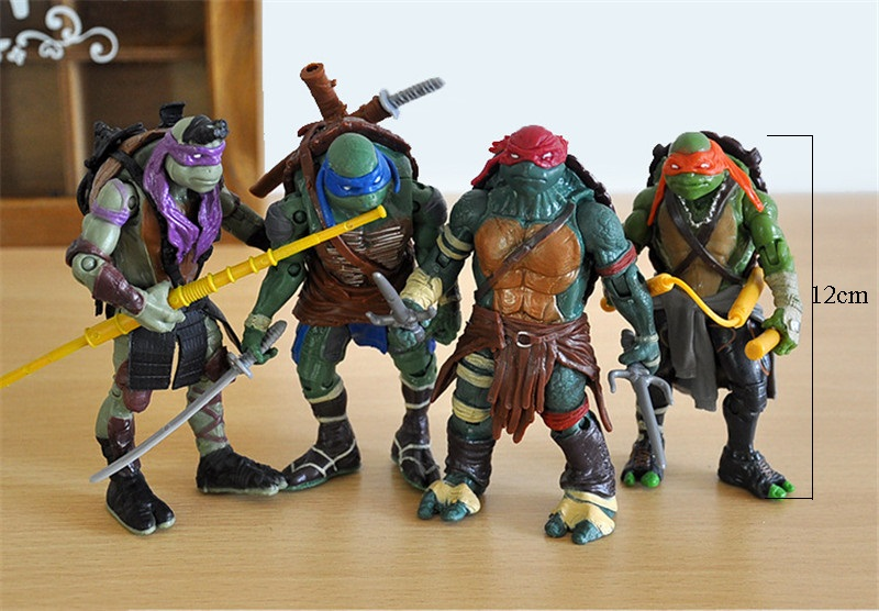 4 pieces/set Teenage Mutant Ninja Turtles toy the joints can mover freely doll Children's gift