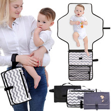 Baby Diaper Changing Pad with Cushioned Mat Pacifier Clip Portable Changing Station with Pockets AN88