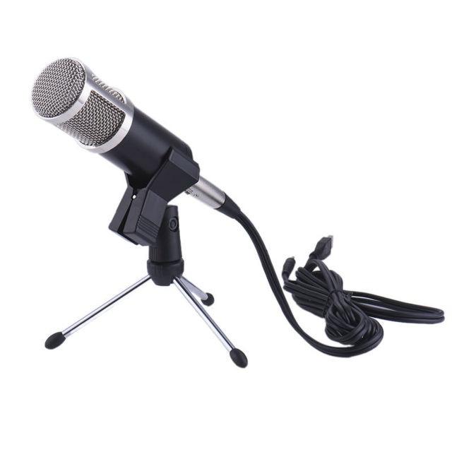КТВ Караоке USB Конденсаторный Микрофон Запись Звука Обработки Аудио Проводные Микрофоны с Подставкой для Радио Braodcasting